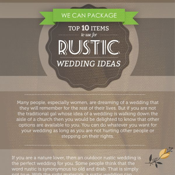 Top 10 Items To Use For Rustic Wedding Ideas Tipsographic