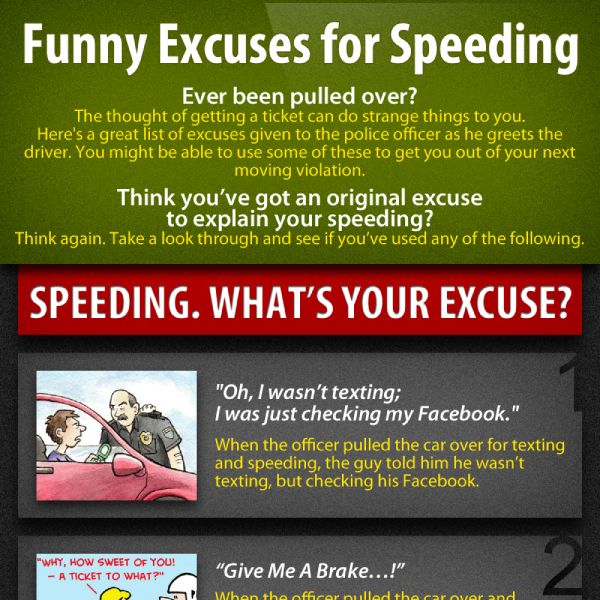 Funny Excuses For Speeding Tipsographic