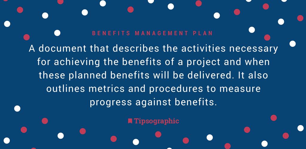 Thumbnail titled benefits management plan project management terms