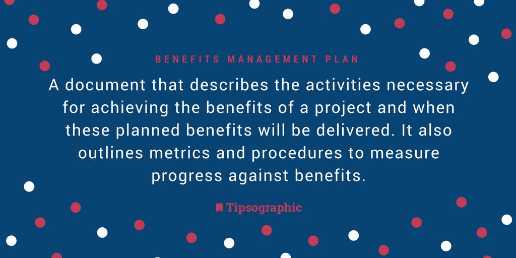 Image titled benefits management plan project management terms