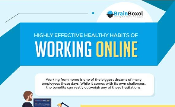 Thumbnail titled highly effective healthy habits of working online