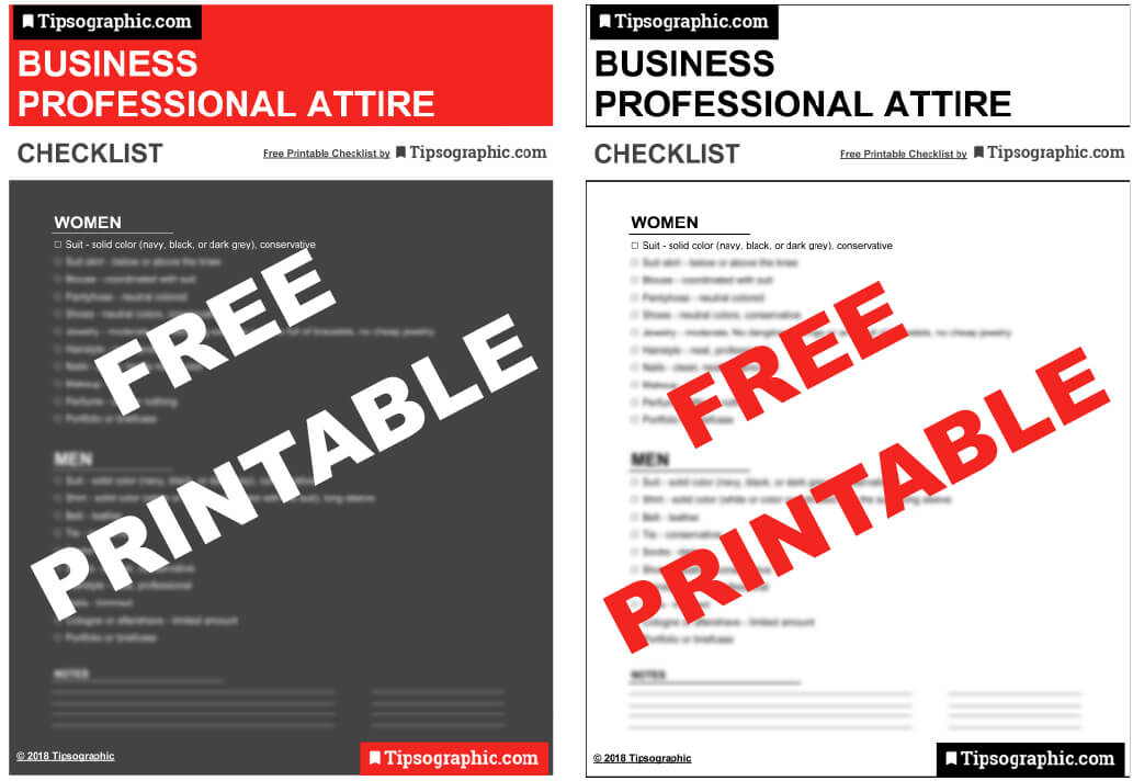 business professional attire cheat sheet printable pdf tipsographic small