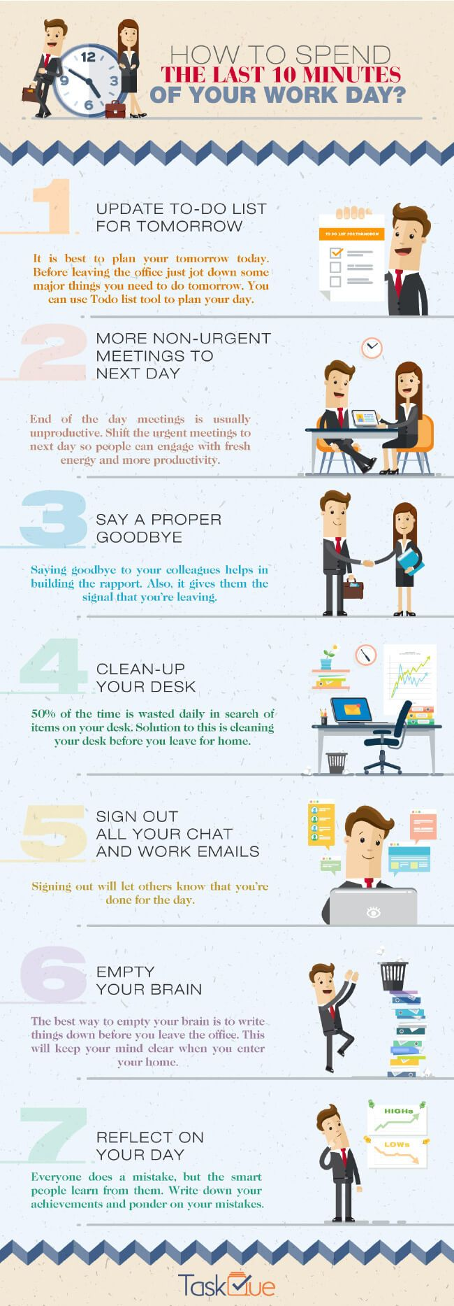 how to reduce stress by powering your time at work the last 10 minutes. tipsographic main