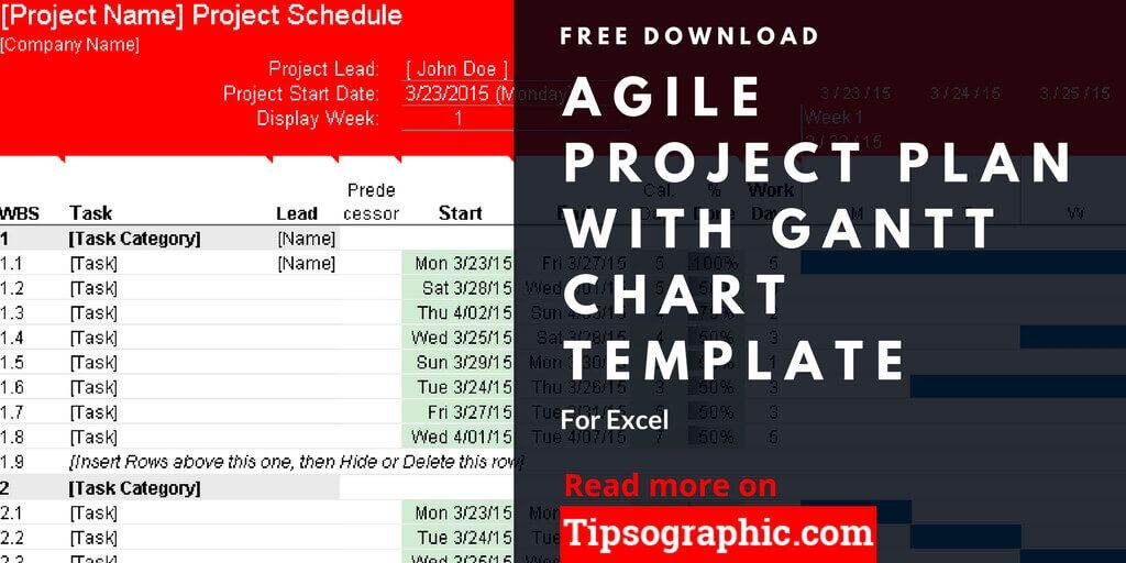agile project plan template for excel with gantt chart