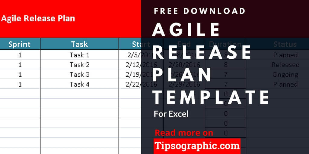 Agile release plan template for excel free download for Software release management plan template