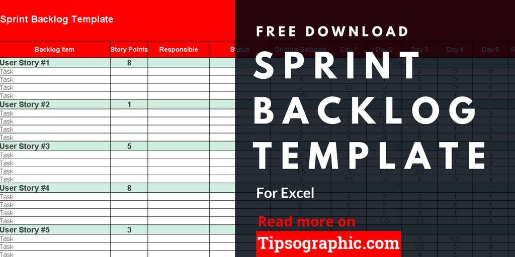 sprint backlog template excel free download tipsographic