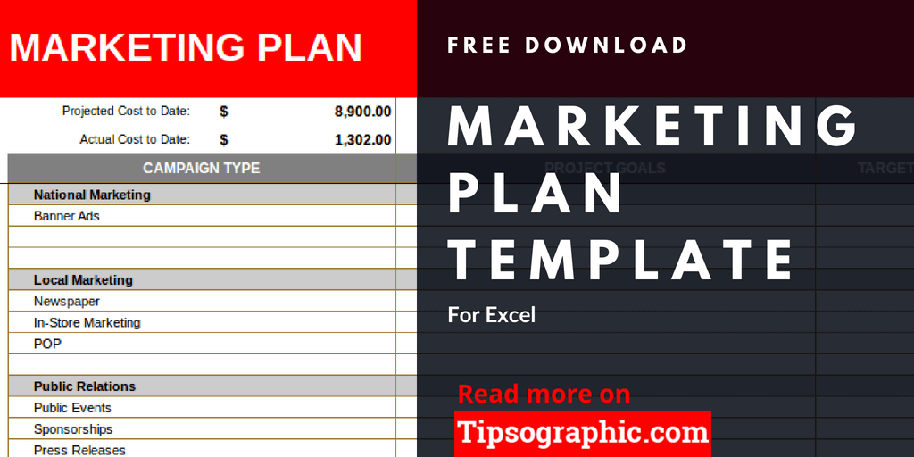 Marketing Plan Template For Excel Free Download Tipsographic