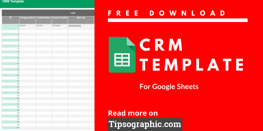 Google Sheets CRM Template Free Download