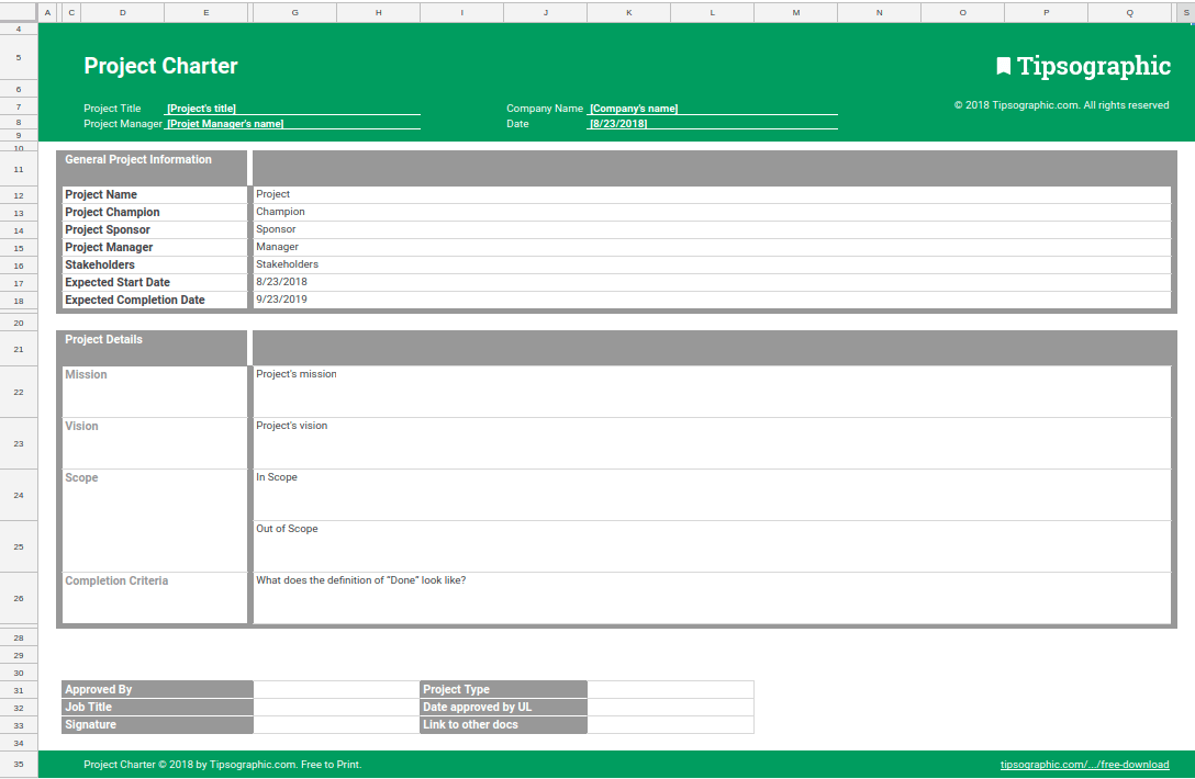 Google sheets project charter template for agile pm free for Software project charter template