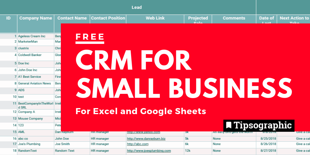 12 Free CRM for Small Business, Excel and Google Sheets Free