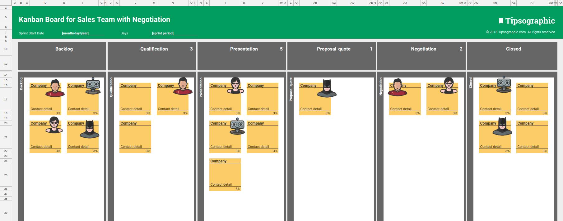 kanban board sales team negotiation template xls excel