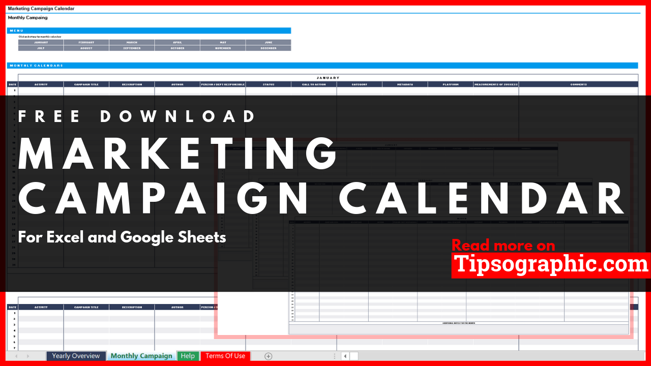Marketing Campaign Calendar Template For Excel Free Download Tipsographic