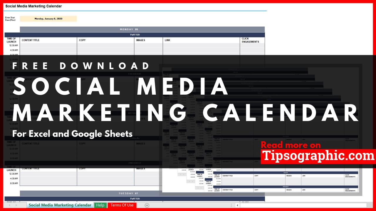 Social Media Marketing Calendar Template for Excel, Free