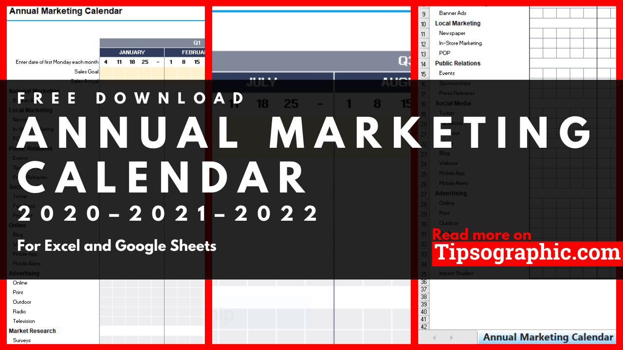 2022 Marketing Calendar.Annual Marketing Calendar Template For Excel Free Download 2020 2021 2022 Tipsographic
