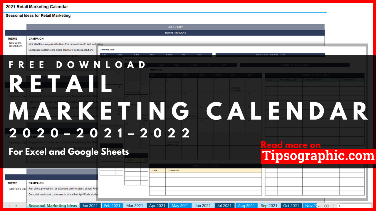 Retail Calendar 2022.Retail Marketing Calendar Template For Excel Free Download 2020 2021 2022 Tipsographic
